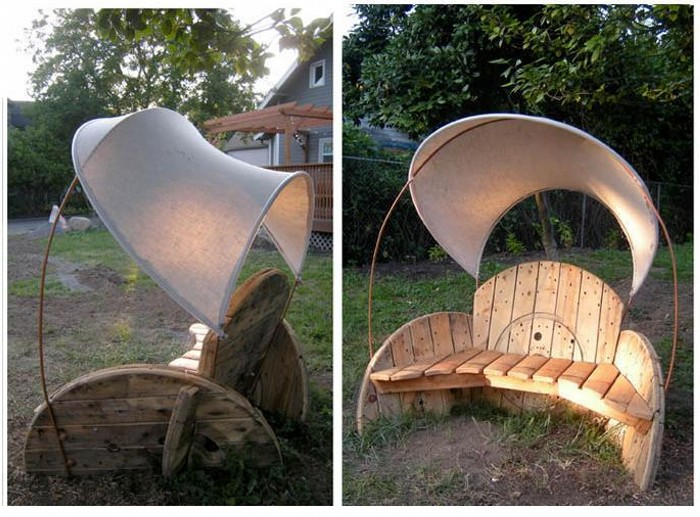 Wooden Cable Reel Garden Seating