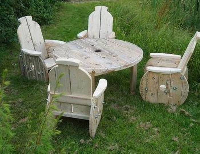 Wooden Cable Reel Patio Seating