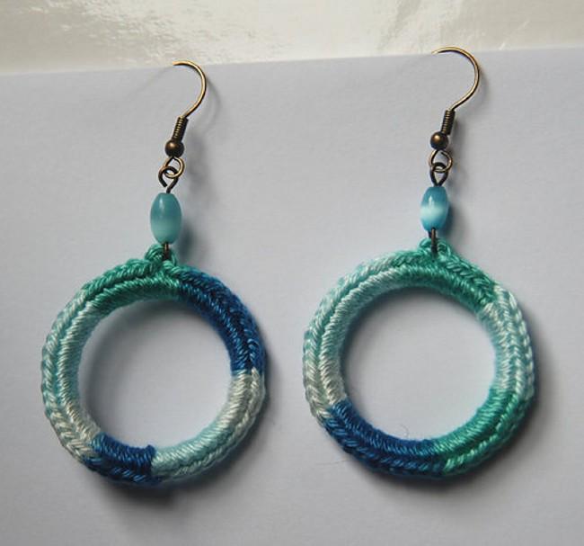crochet upcycled earrings