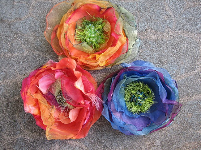 Fabric Recycled Flowers Upcycle Art