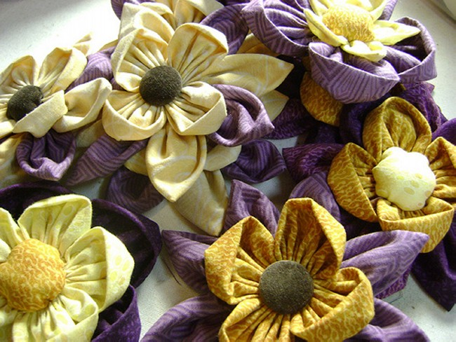 fabric upcycled flowers