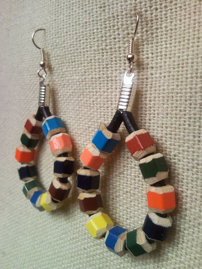 pencil crayon raindrop earrings