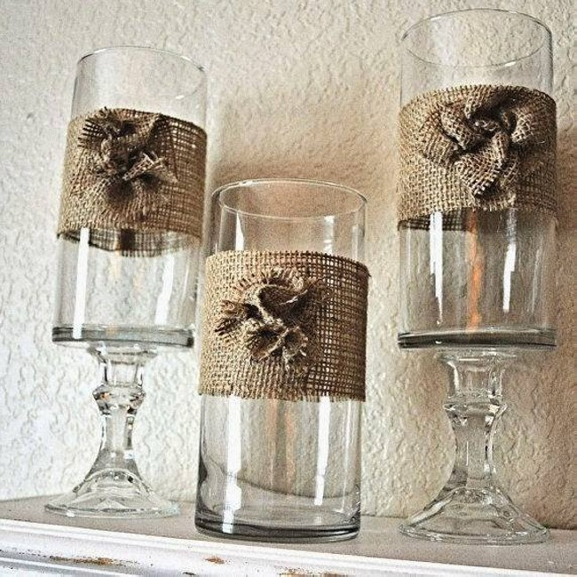 Burlap Glass Decor
