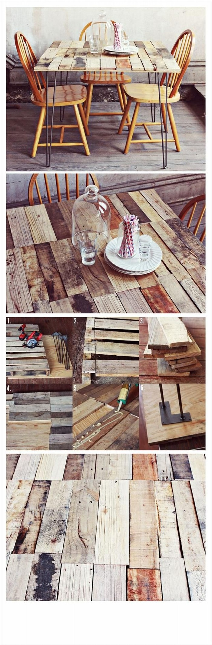 DIY Recycled Old Pallets Dinning Table