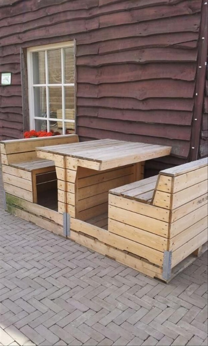 Recycled Old Pallets Benches