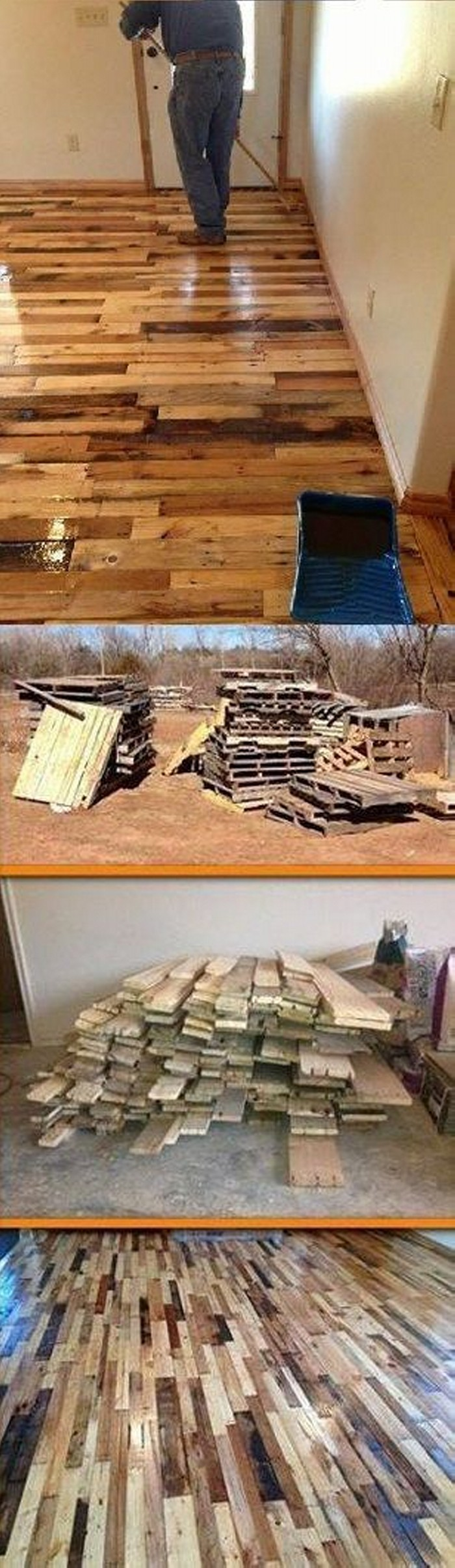 Recycled Old Pallets Flooring