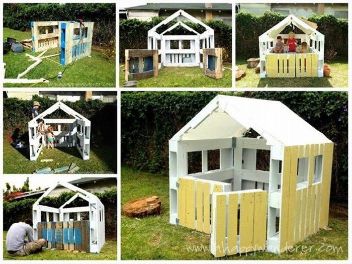Recycled Old Pallets Kids Playhouse