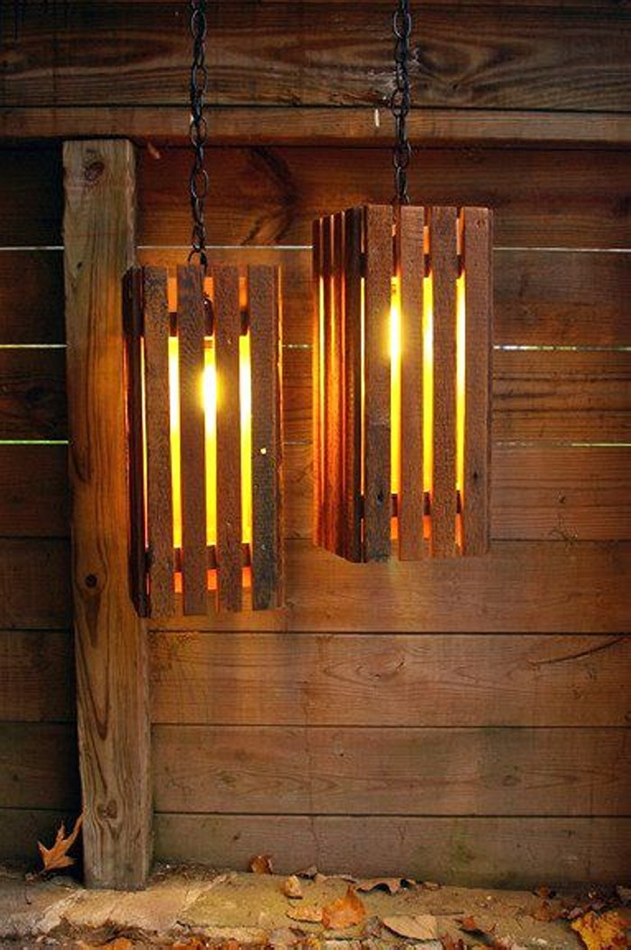 Recycled Old Pallets Lamps