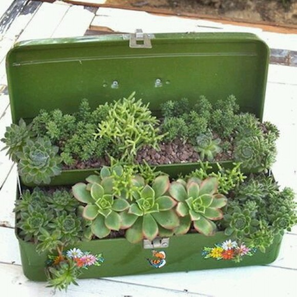 Upcycled Planter Pots with Suitcase