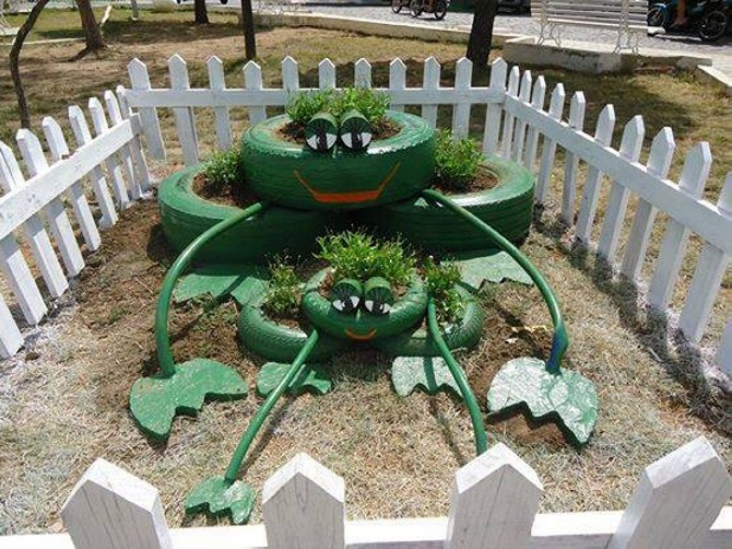 Upcycling ideas for used tires upcycle art for Modelos de jardines pequenos con llantas