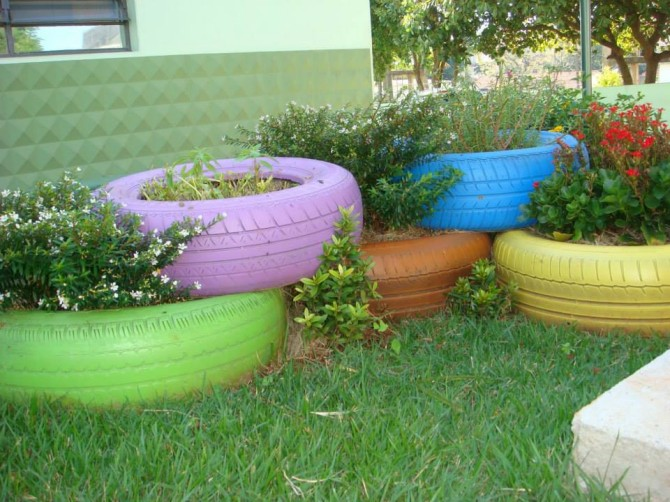 Used Tires Upcycled Planter