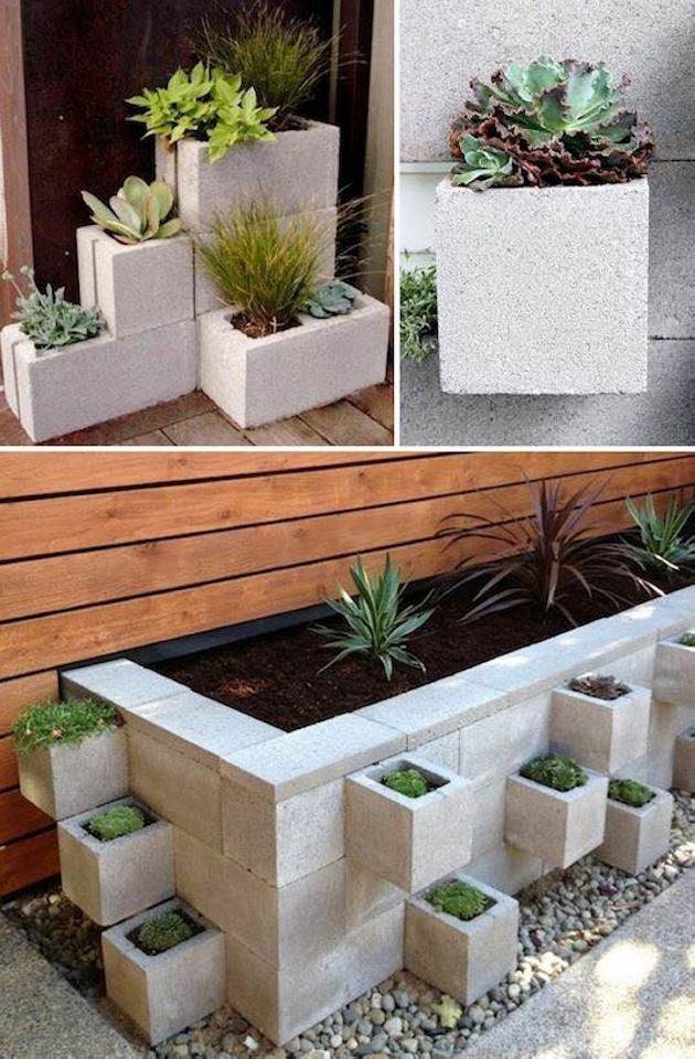 Blocks of Concrete Pots