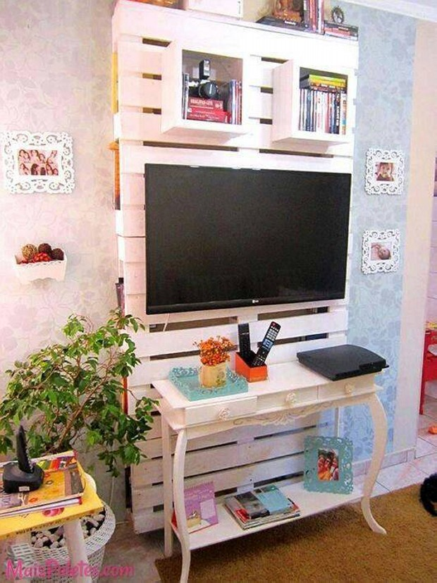 Pallet Wall Shelves with TV Stand