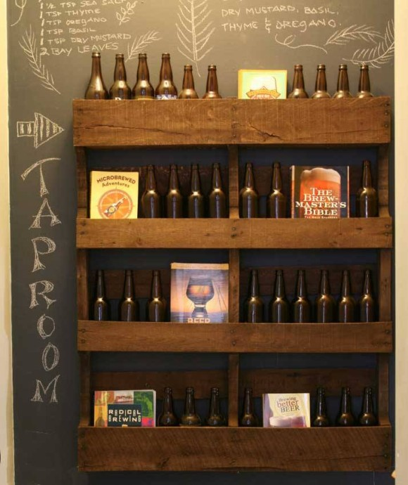 Pallet Wine Bottle Bar