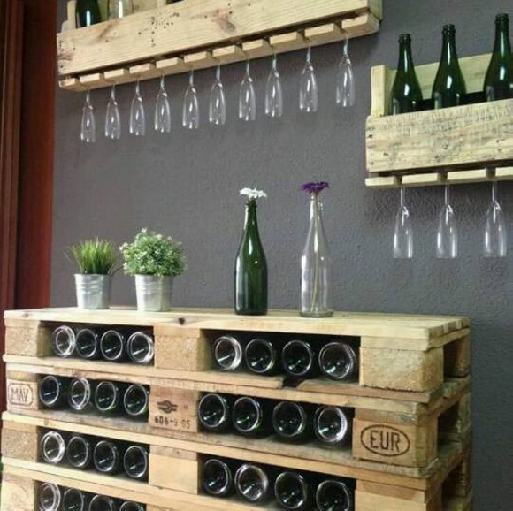 Pallet Wine Bottle Shelves Plan