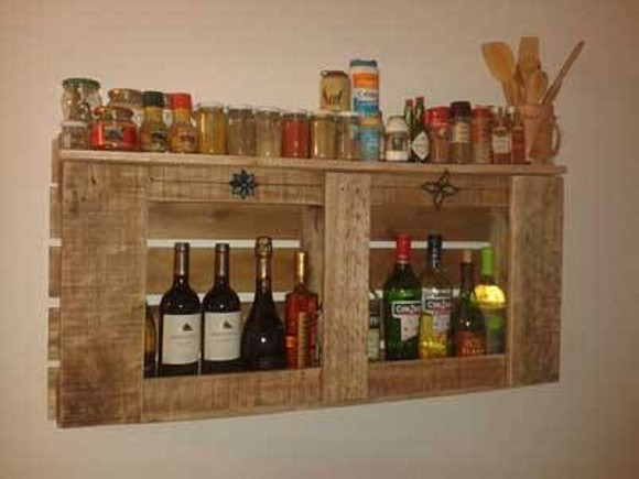Pallet Wine Bottle Shelves
