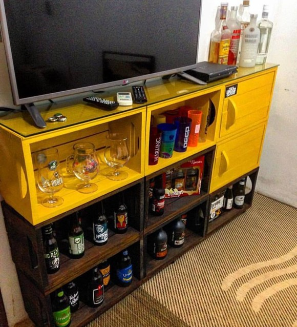 Pallet Wine Bottle Shelving