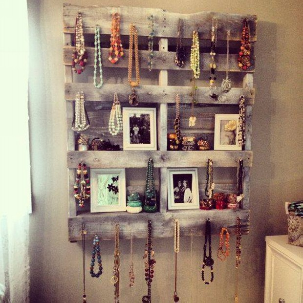 Upcycled Pallet Wall Jewelry Shelves