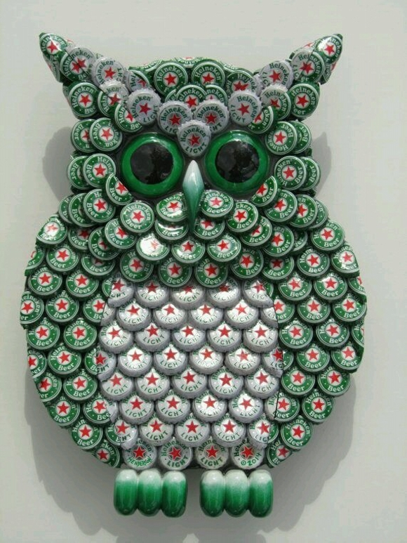 Bottle Caps Recycled Owl