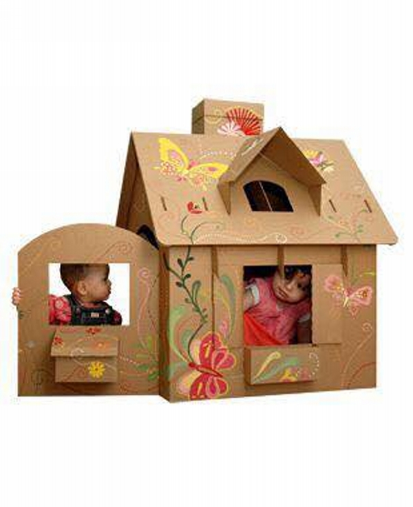 kids houses with recycling of cardboard upcycle art. Black Bedroom Furniture Sets. Home Design Ideas