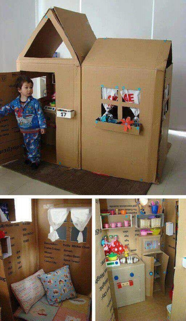 Cardboard Upcycled Kids Houses