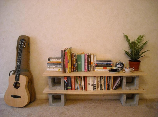 Concrete Blocks Upcycled Bookshelf