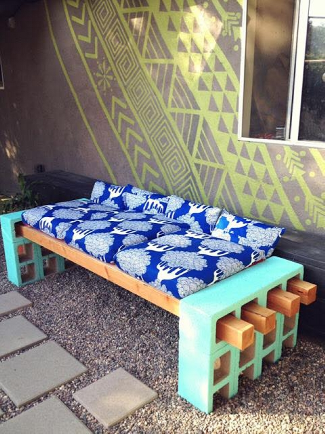 Concrete Blocks Upcycled Couch
