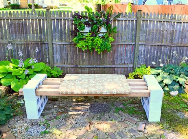 Concrete Blocks Upcycled Garden Bench