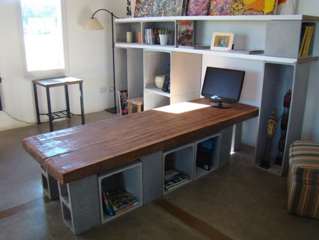 Concrete Blocks Upcycled Table with Storage