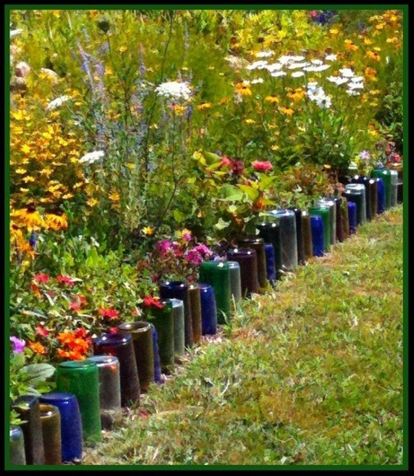 Garden Ideas to Recycle Glass Bottles