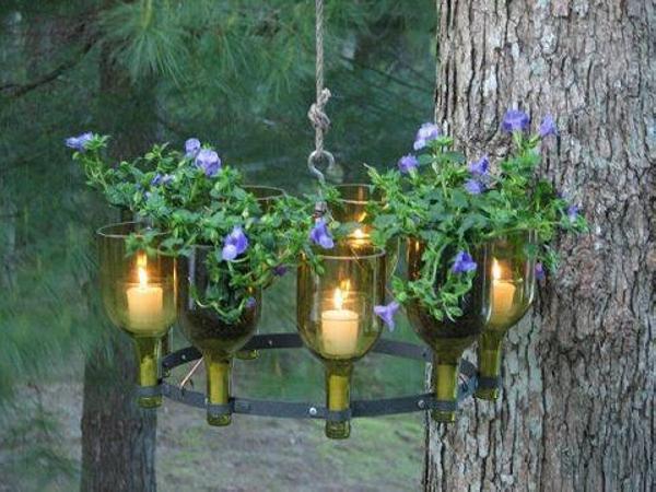 Glass Bottles Garden Art