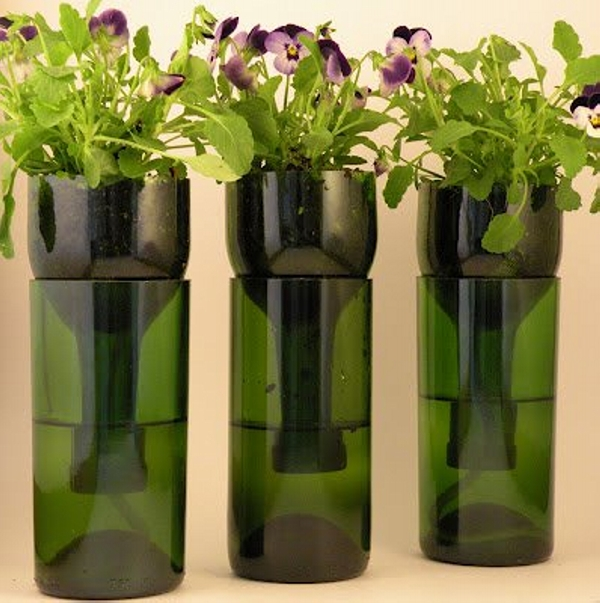 Glass Bottles Recycled Planters