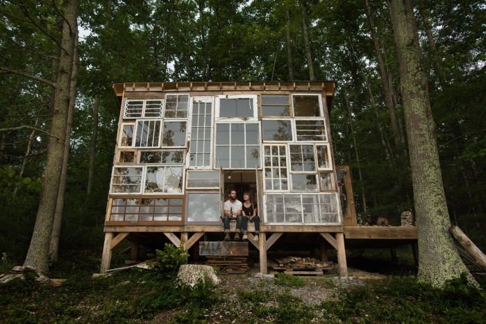 Glass Cabin from Recycled Old Wood Windows