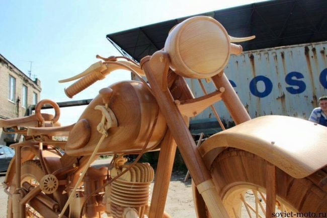 Hand Carved Wood Motorcycle