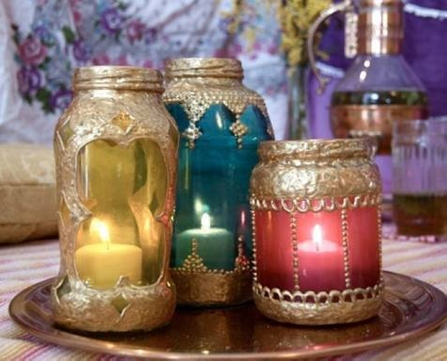 Mason Jars Upcycled Candles