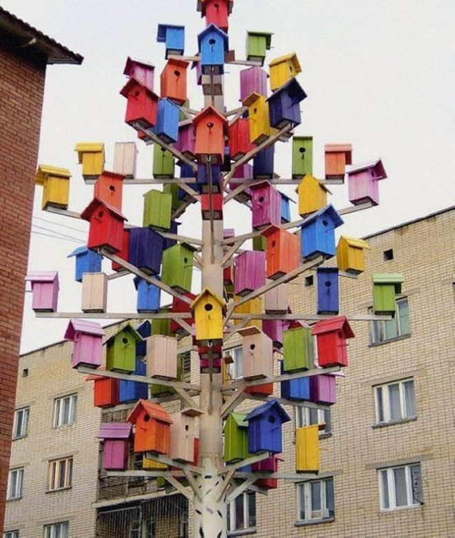 Upcycled Bird House Tree