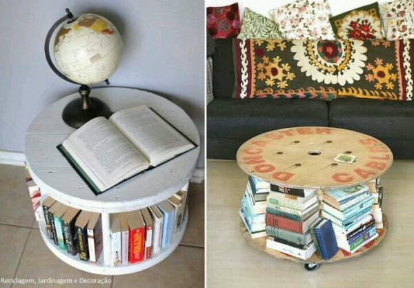 Upcycled Cable Reel Book Shelf