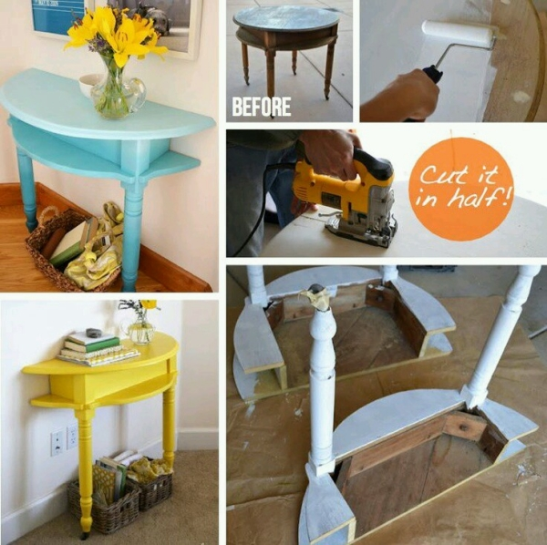 Upcycled Cable Reel Wall Table