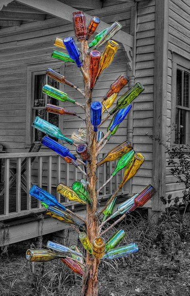 Used Bottles Garden Tree