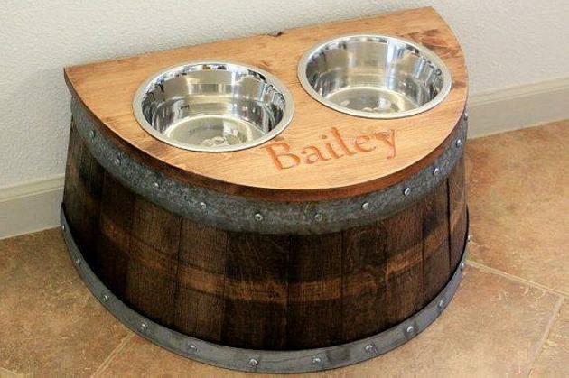 Wood Upcycled Dog Bowl