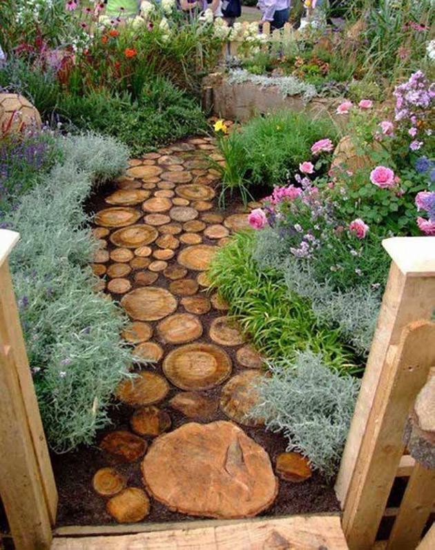 Wood Upcycled Garden Pathway