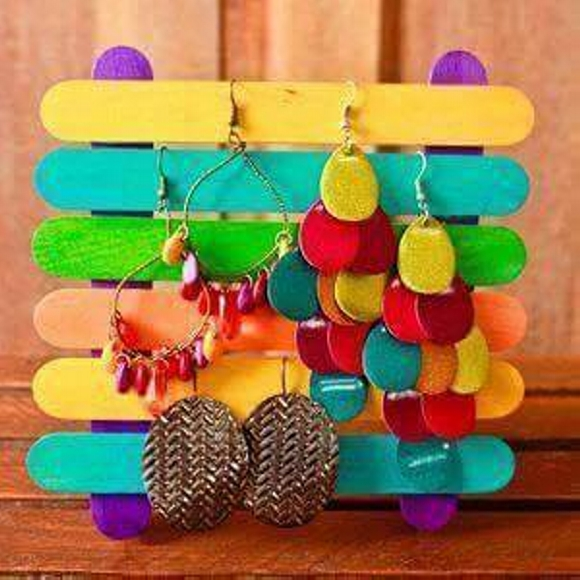 Wooden Sticks Upcycled Jewelry Holder