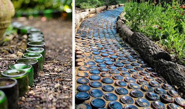 garden path with bottles