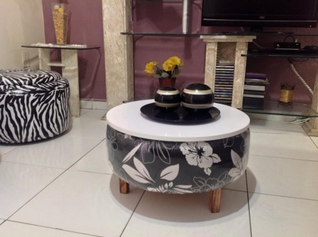 coffee table out of used tyres | upcycle art