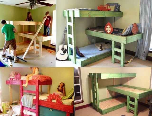 Bunk bed designs for kids room upcycle art for Diy kids pallet bed