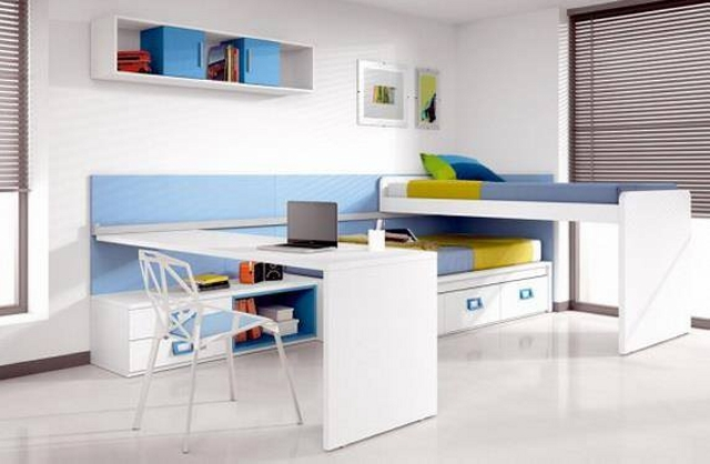 Kids Room Bunk Bed with Study Table