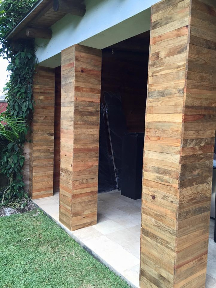 Wooden Pillars Designs : External columns pallet wooden art upcycle