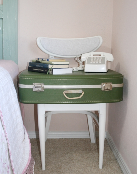 Side table with suitcase