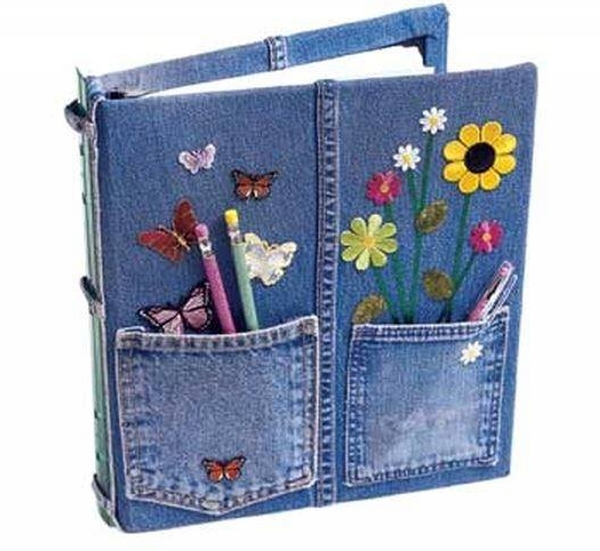 Used Jeans Upcycled Book Cover