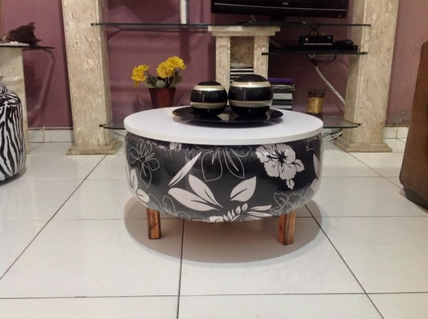 Used Tyres Upcycled Coffee Table